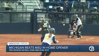 Michigan softball beats Michigan State in home opener