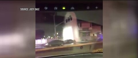 Caught on Camera: Car crashes into fire hydrant in Las Vegas valley