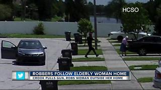 Suspects follow 86-year-old woman home, rob her - Video