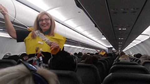 Viral video shows 'world's funniest' flight attendant's hilarious safety announcement leaving passengers in stitches