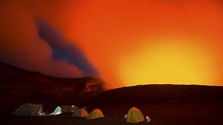 Incredible images captured as explorers camp at the edge of a live volcano