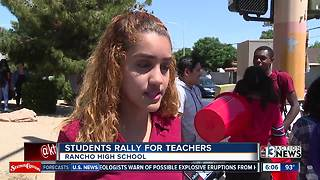 students and teachers protest to keep teacher raise amid CCSD budget cuts - Video