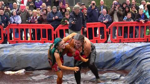 Wrestlers fight in GRAVY at world championships in Lancashire