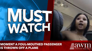 Moment a foul-mouthed passenger is thrown off a plane