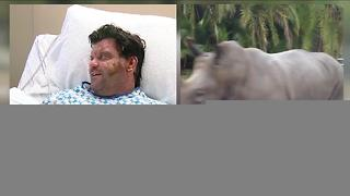 Animal Sanctuary owner saves rhino from fire - Video