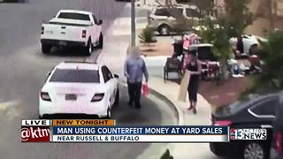 Man using fake money at yard sales - Video