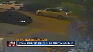 Surveillance video shows woman hitting parked cars in Hyde Park - Video