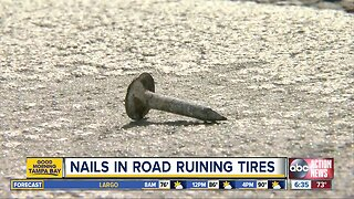 Nails dumped outside of elementary school are popping tires