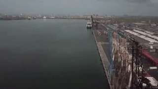 Drone Video Shows Aid At Port in San Juan - Video