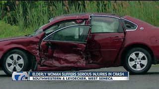 Southwestern Blvd crash seriously injuries elderly lady - Video
