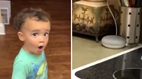 Kid shocked when Google Assistant listens to his request
