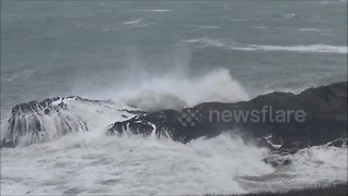 Rough sea at Port Isaac during Storm Brian - Video