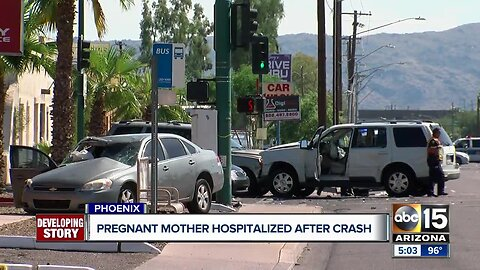 Pregnant woman hospitalized after crash in Phoenix