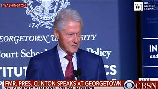 Bill Clinton Speaks At Georgetown University Side Swipes TrumpTrain - Video