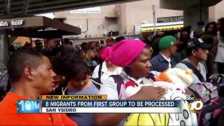 8 migrants from first group to be processed - Video