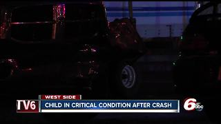 Child critically injured in crash on Indy's north side