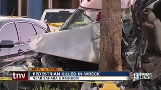 Pedestrian killed, driver injured in crash - Video