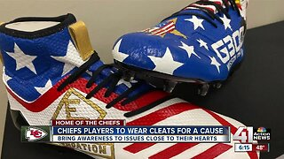 Lawrence artist hand paints dozens of shoes for Chiefs players