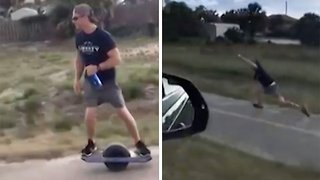 Wheel Of Mis-fortune: One Wheel Rider Smashes Face First Into Pavement