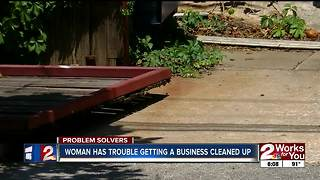 Woman has trouble getting business cleaned up - Video
