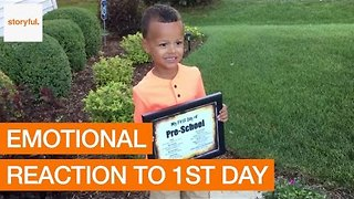 Dad's Touching Reaction to Son's First Day at School - Video