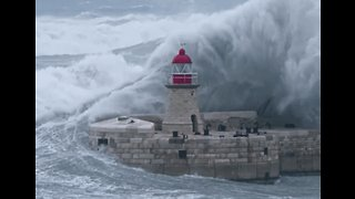 Immense Wave Collides With Lighthouse in Malta