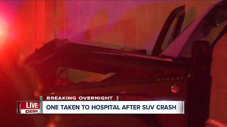 One person taken to hospital after overnight crash - Video