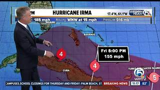 Category 5 Hurricane Irma's winds at 185 mph - Video