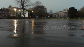 Emergency services on scene as Cumbria's River Eden bursts banks - Video