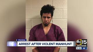 Man arrested by police after violent manhunt in Peoria - Video