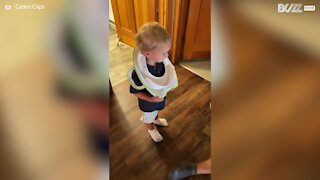 Toddler gets head stuck in potty seat