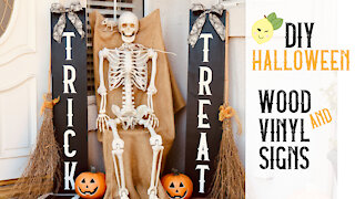 How to Make Trick or Treat Porch Yard Signs for Halloween