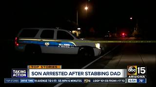 Man stabbed by son in Phoenix - Video
