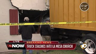 Truck crashes into La Mesa church