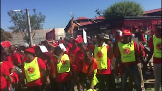 Protesters at Saftu march mock President Ramaphosa (TgX)