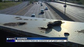 Four people caught throwing rocks from an overpass onto I-696 in Warren - Video