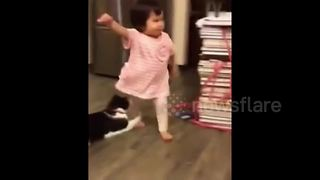 Hilarious moment cat trips toddler