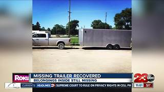 Stolen trailer recovered, belongings still missing - Video