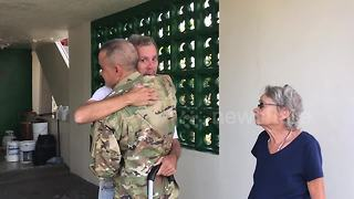 Puerto Rican soldier reunited with his family after Hurricane Maria - Video