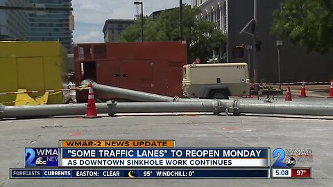 'Some traffic lanes' to reopen Monday in Downtown Baltimore