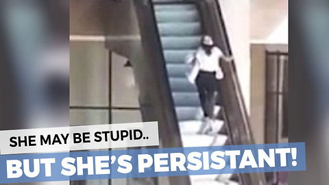 This Poor Lady Can't Figure Out The Escalator