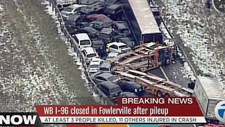 Deadly pileup on I-96 involving more than 40 vehicles - Video