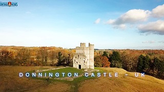 Drone footage of the beautiful Donnington Castle, UK - Video