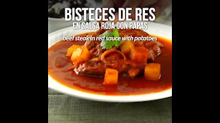 Beef Steak in Red Sauce with Potatoes