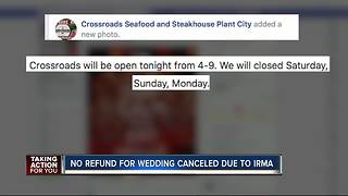 Venue refused refund to couple after Irma forces wedding cancellation - Video