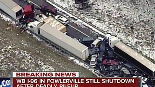 Westbound I-96 still shut down after deadly pileup - Video