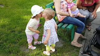 ADORABLE BABY Kisses and Hugs New Friend !!! - Video