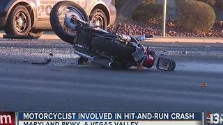 Motorcyclist critically hurt in hit-and-run crash - Video
