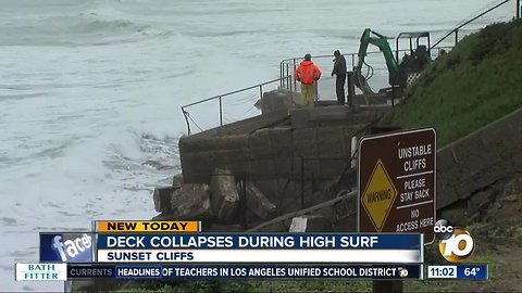 Sunset Cliffs deck collapses during high surf