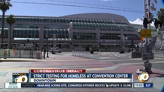 Strict testing for homeless at convention center